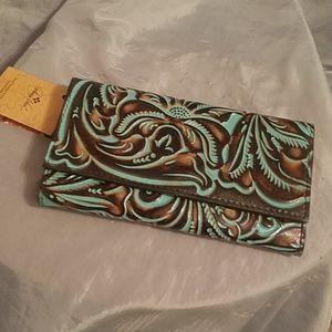 Patricia Nash Terresa wallet turquoise tooled